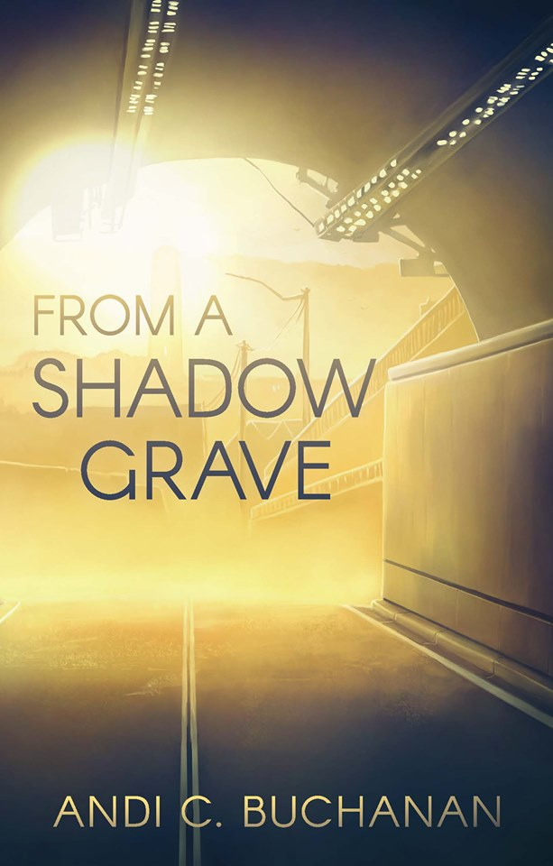 Cover of 'From a Shadow Grave' by Andi C Buchanan. Yellow and black and set in a tunnel.